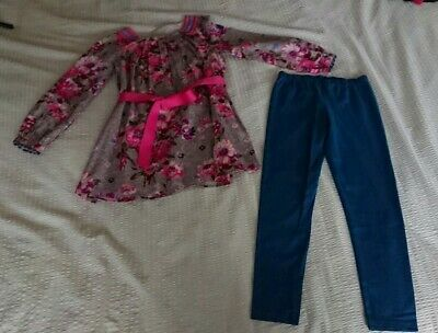 Monsoon Girl's Pretty Beaded Tunic Dress + Leggings Outfit Set Age 8 Years Vgc!