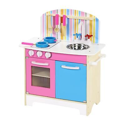 Pink Children Kids Wooden Play Kitchen Cooking Toy Girls Cooker Play Set Gift