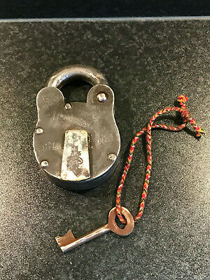 Vintage Extra Large Indian Steel Padlock With Key Working Hopps & Co Bengal a