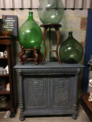 Painted Carved Dresser base / sideboard with 2 drawers and 2 doors