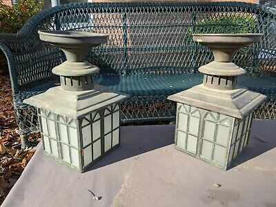 Antique Arts And Crafts Copper Outdoor Porch Lights Pair