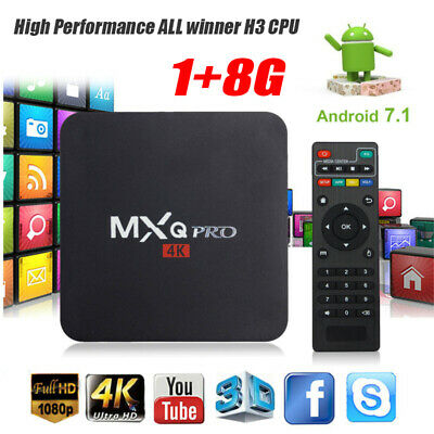 MXQ Pro 4K 3D 64Bit Android 7.1.2 Quad Core Smart TV Box 1080P HDMI WIFI 17.6