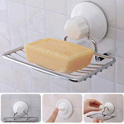 Strong Suction Cup Wall Mount Home Toilet Bathroom Shower Soap Dish Holder Rack
