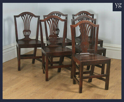Antique English Set of Six Georgian Hepplewhite Solid Oak Country Dining Chairs