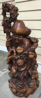 """Vintage 32"""" Carved Chinese Immortal Figural Statue"""