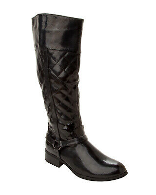 Womens Black Patent Quilted Knee High Low Heel Cowboy Riding Boots Ladies Size