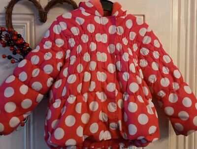 Girls pink spotty polka dot School Coat Age 2-3 warm Winter Hooded Tu