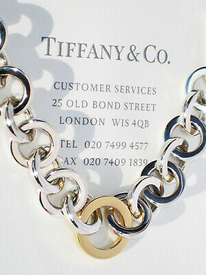 Tiffany & Co Sterling Silver 18Ct 18K Yellow Gold Circle Link 16 Inch Necklace
