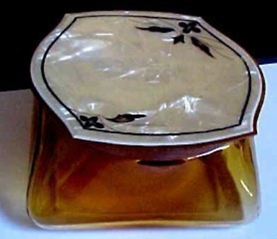 antique   Depression era  amber glass powder jar with celluloid pearlized lid