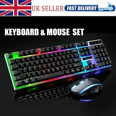 Mechanical Keyboard and Mouse Set PC PS4 PS3 Xbox One Gaming Rainbow Backlit UK
