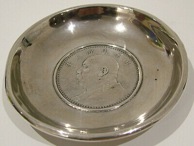 Antique Chinese Export Silver Dollar Dish Good Condition Fat Man Dollar 949