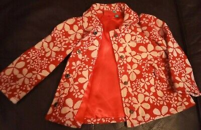 Animal Girls Designer print Red white winter jacket Coat Bow lined Age 2 xmas