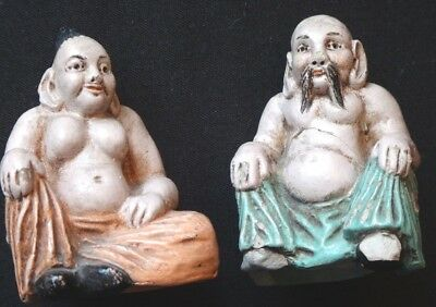 Ancien couple chinois érotique miniature grés Chinese erotica figures ceramic