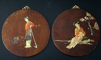 2 panneaux Chine zitan marqueterie pierre Chinese panel stone marquetry chinese