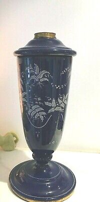 large antique deep blue continental oil lamp white ferns