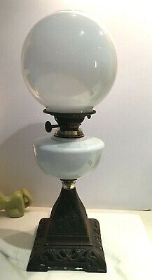victorian opaline white glass oil lamp fount with white round shade