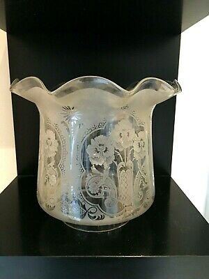 antique tulip frilly clear acid etched oil lamp shade