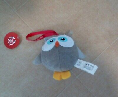Plush owl hang up bath sponge toy by body shop with tags.