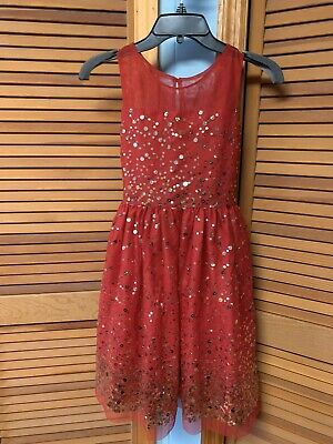 Rare Editions Girls 12 Red Holiday Dress Christmas Gold Sequins NWT Fast Ship