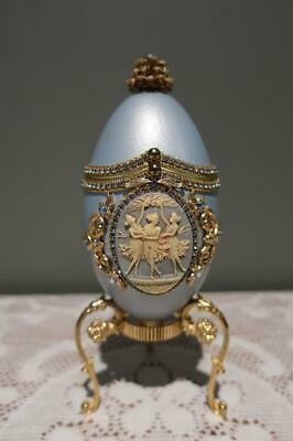 Superb Egg Fantasy Musical Trinket Box On Stand - Memories - Collectable - Vgc