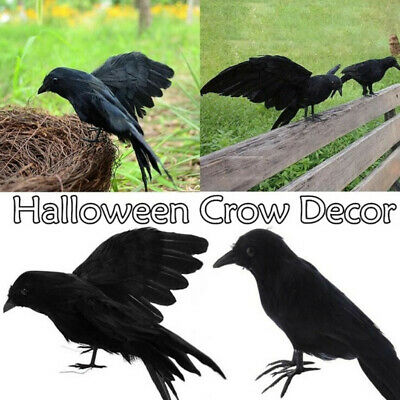 Realistic Looking Halloween Decoration Birds Black Feathered Crows JH