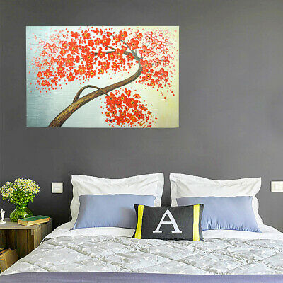 Hand Painted Oil Painting Framed Canvas Modern Art Wall Home Decor Flower Tree