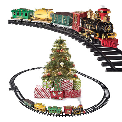 Prextex Christmas Train Set- Around Christmas Tree w/ Real Smoke, Music & Lights