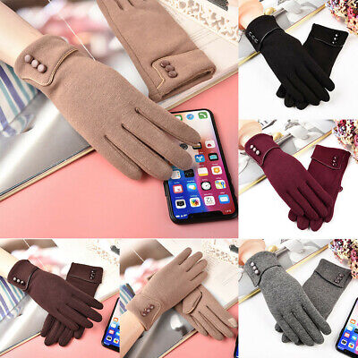 Winter Gloves Warm Thick Fleece Lined Thermal Button Touch Screen Women Ladies R