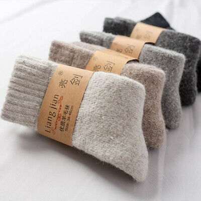 Men's Women Winter Solid Soft Thick Knit Wool Cashmere Casual Warm Sports Socks