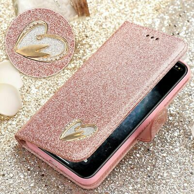 Glitter Sparkly Heart Leather Flip Wallet Case Cover For iPhone 11 XR XS 7 8 6S