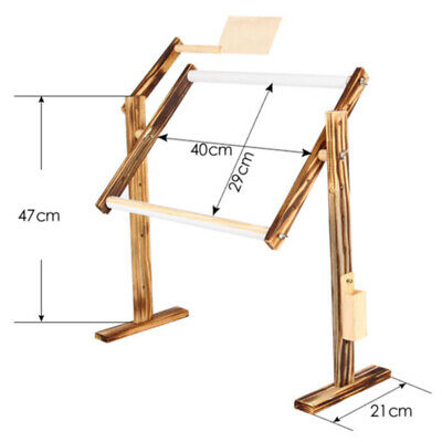Adjusting Wooden Cross Stitch Frame Floor Stand Wooden Embroidery Tapestry Hoops