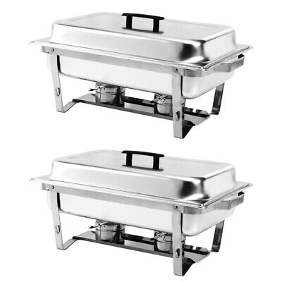 1~4 X Chafing Dish Set Stainless Steel Party Buffet Food Warmer Server Tray Pan