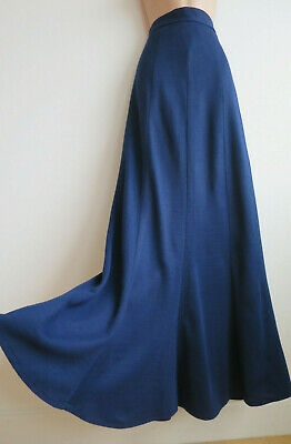 "Vintage 70s maxi skirt by Clobber blue jersey high waist v long S W 24""-25"""