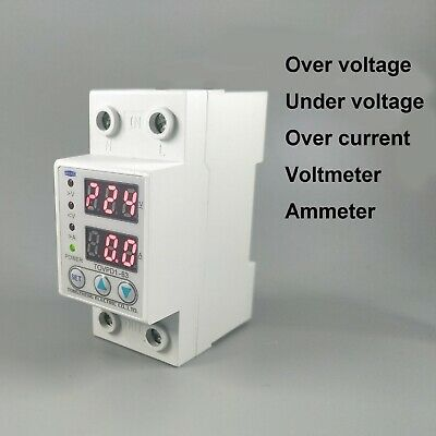 New 60A 230V Din Rail Adjustable Over Voltage And Under Voltage Protective