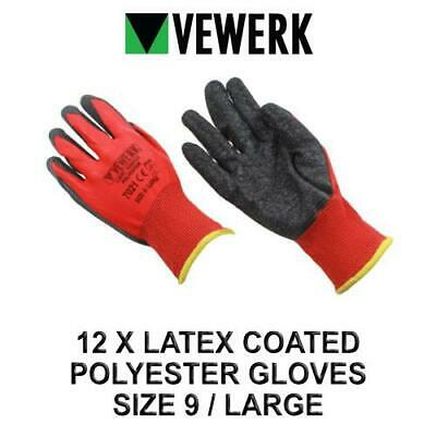 VEWERK 12 Pairs Of Hard Wearing latex Coated Polyester Gloves Size 9 / Large