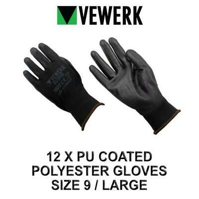 VEWERK 12 Pairs Of Flexible Polyester Work Gloves Size 9 / Large 7023