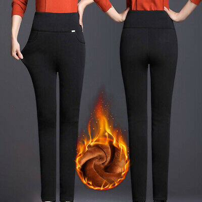 Women Thick Thermal Warm Slim Fit Fleece Lined High Waist Stretch Pencil Pants