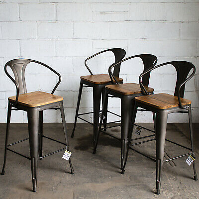 4x Gun Metal Industrial Bar Stool Dining Tolix Breakfast Bistro Cafe Seat Chair