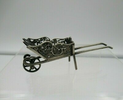 Antique Silver Filigree Wheel Barrow Miniature Cart