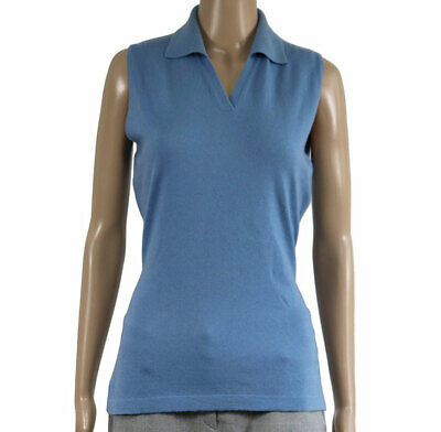 Cashmere Size M 100% Cashmere Women Sleeveless Knitted Polo Neck Pullove Blouse
