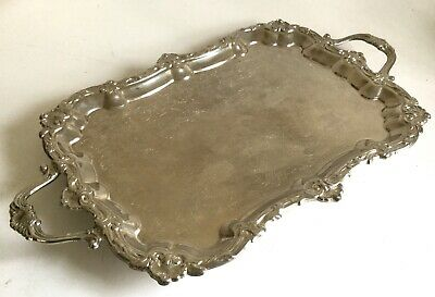 """Vintage Large HEAVY Silver Plate Ornate Footed Serving Tray 25x15"""""""
