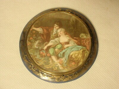 Vtg French Lovers Couple Blue Celluloid Powder Compact Made in France