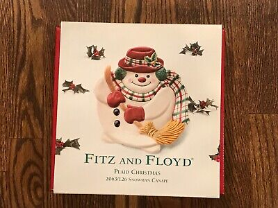 Fitz and Floyd (2063/126) Plaid Christmas Snowman Canape Tray Dish Plate-New