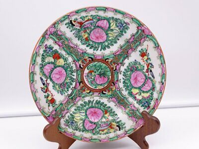 Antique Chinese Rose Medallion Porcelain Plate Signed Red Marks On The Back