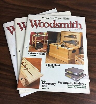 Woodsmith Magazine Lot of (3) Volumes with Cover Pages Back Issues Furniture