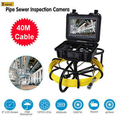 """9"""" 40M 8GB DVR Video Pipeline Inspection Cleaner φ23mm Waterproof Sewer Camera"""