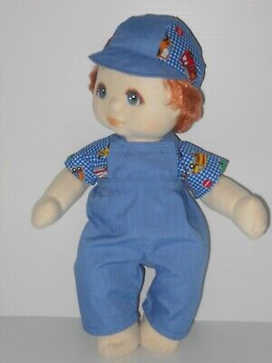 My Child Boy Doll Clothing. Blue Overall, Top in Check Fabric & Cap