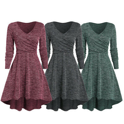 Women Vintage V Neck Swing Dress Cocktail Evening Party Casual Loose Dresses