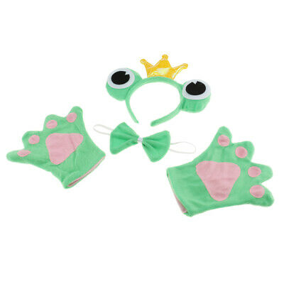 Funny Kids Green Cute Frog Animal Headband Bow Tie Gloves Sets Cosplay