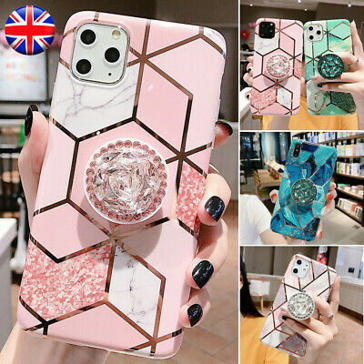 Geometric Marble Case For iPhone 11 XS XR 7 8 X With Diamond Stand Holder Socket